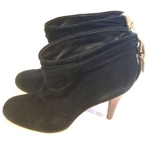 Tory Burch Black Suede Bari Slouch Ankle Boot Heel
